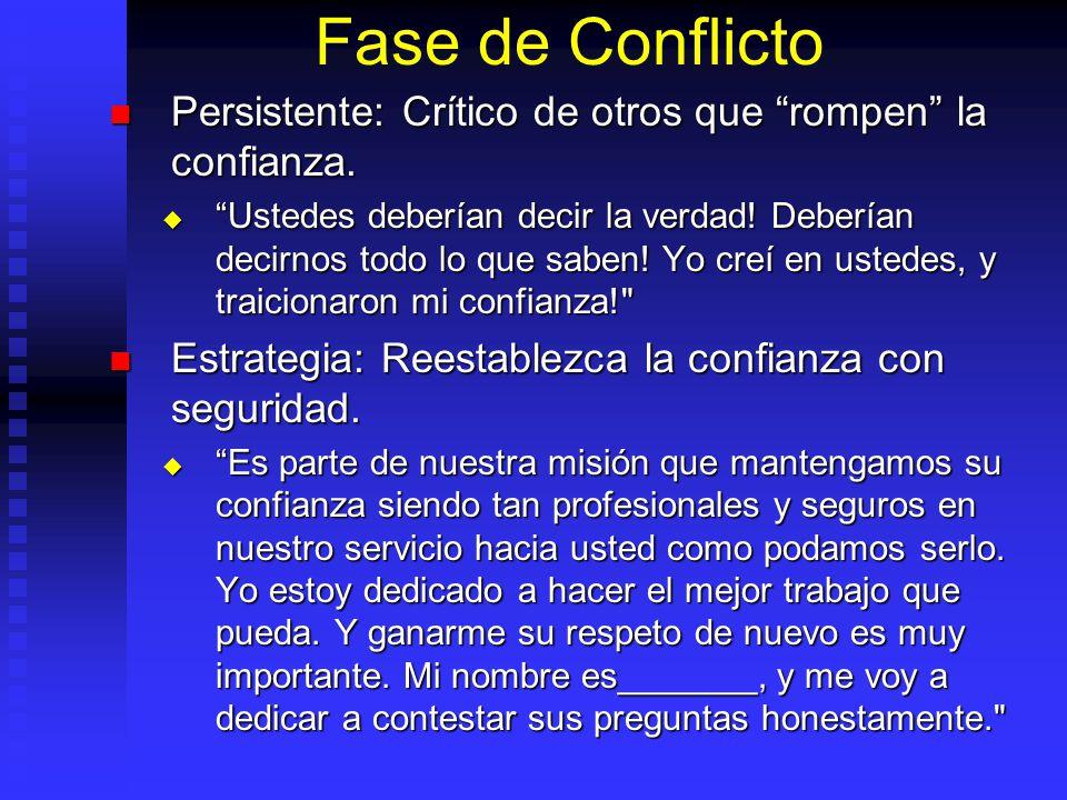 Fase de Conflicto Persistente: Crítico de otros que rompen la confianza. Persistente: Crítico de otros que rompen la confianza. Ustedes deberían decir