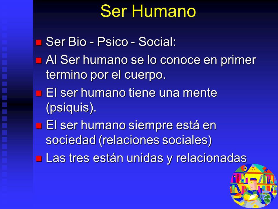 Ser Humano Ser Bio - Psico - Social: Ser Bio - Psico - Social: Al Ser humano se lo conoce en primer termino por el cuerpo. Al Ser humano se lo conoce
