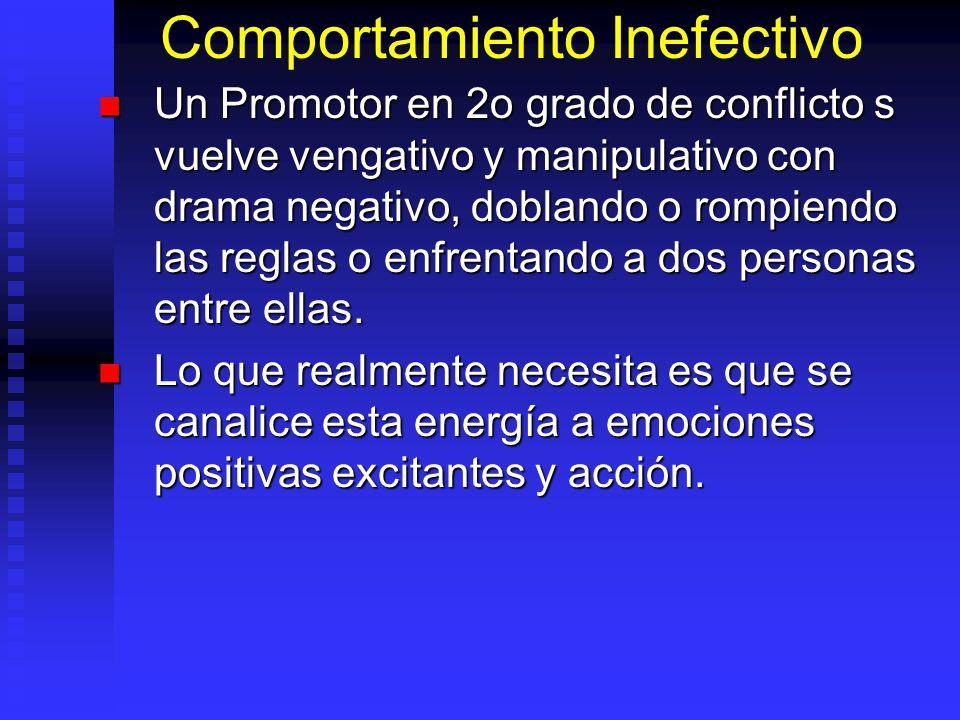 Comportamiento Inefectivo Un Promotor en 2o grado de conflicto s vuelve vengativo y manipulativo con drama negativo, doblando o rompiendo las reglas o enfrentando a dos personas entre ellas.