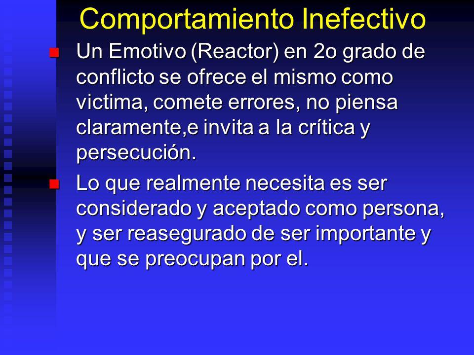 Comportamiento Inefectivo Un Emotivo (Reactor) en 2o grado de conflicto se ofrece el mismo como victima, comete errores, no piensa claramente,e invita a la crítica y persecución.