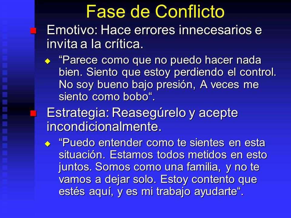 Fase de Conflicto Emotivo: Hace errores innecesarios e invita a la crítica. Emotivo: Hace errores innecesarios e invita a la crítica. Parece como que