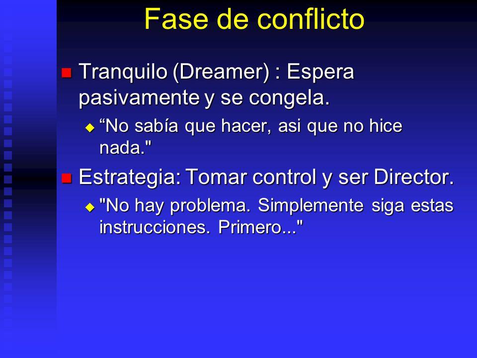 Fase de conflicto Tranquilo (Dreamer) : Espera pasivamente y se congela.
