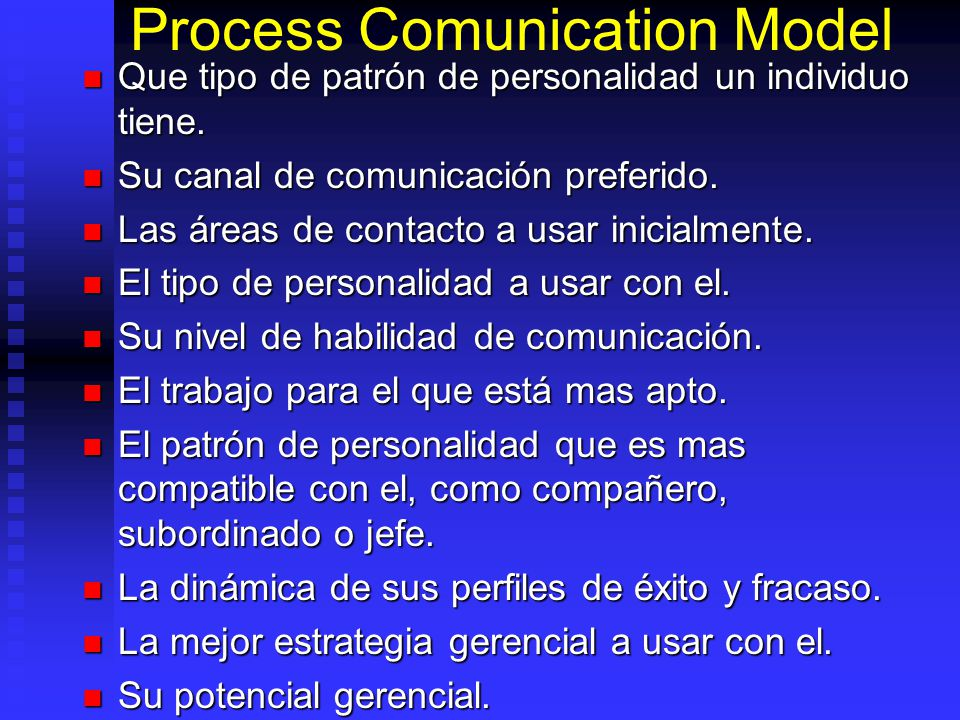 Process Comunication Model Que tipo de patrón de personalidad un individuo tiene. Que tipo de patrón de personalidad un individuo tiene. Su canal de c