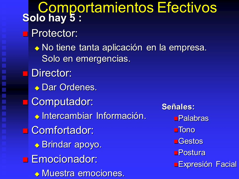 Comportamientos Efectivos Solo hay 5 : Protector: Protector: No tiene tanta aplicación en la empresa. Solo en emergencias. No tiene tanta aplicación e