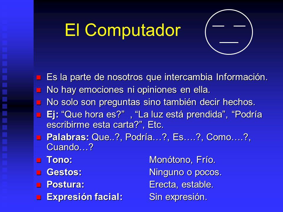 El Computador Es la parte de nosotros que intercambia Información. Es la parte de nosotros que intercambia Información. No hay emociones ni opiniones
