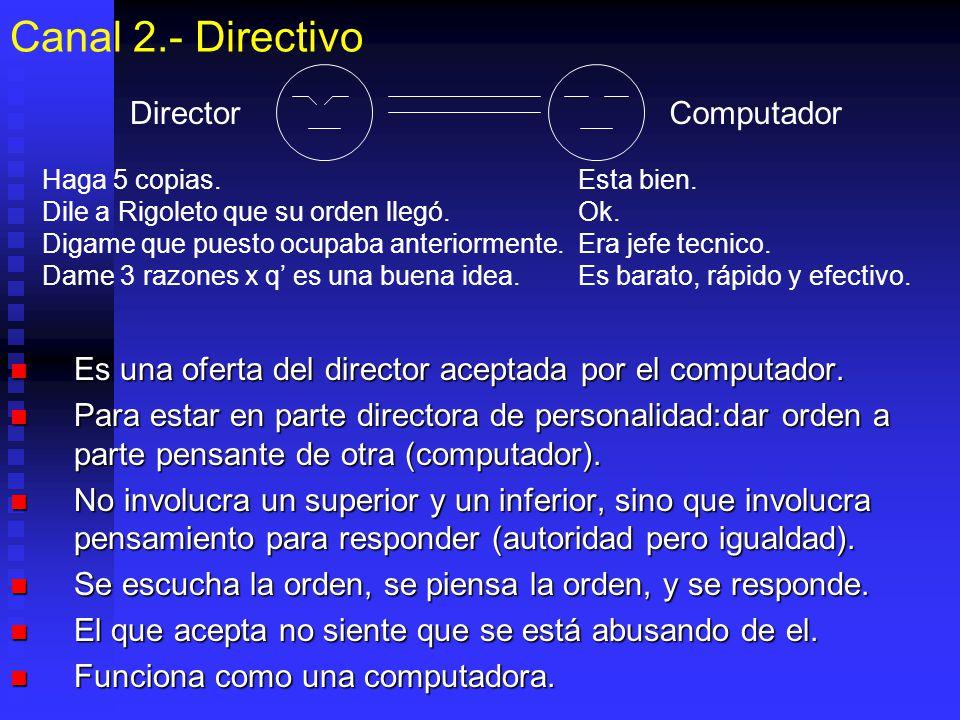 Canal 2.- Directivo Es una oferta del director aceptada por el computador. Es una oferta del director aceptada por el computador. Para estar en parte