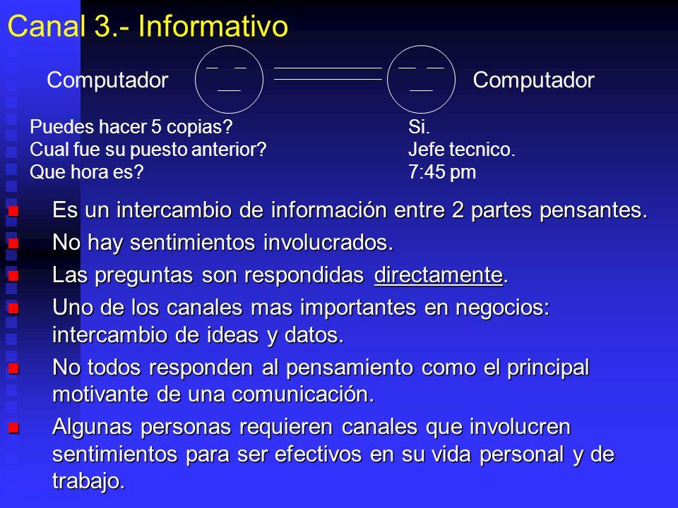 Canal 3.- Informativo Es un intercambio de información entre 2 partes pensantes. Es un intercambio de información entre 2 partes pensantes. No hay sen