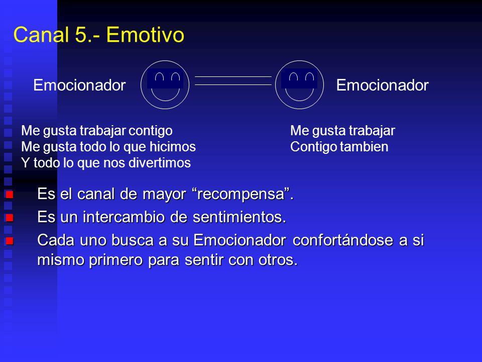 Canal 5.- Emotivo Es el canal de mayor recompensa. Es el canal de mayor recompensa. Es un intercambio de sentimientos. Es un intercambio de sentimient