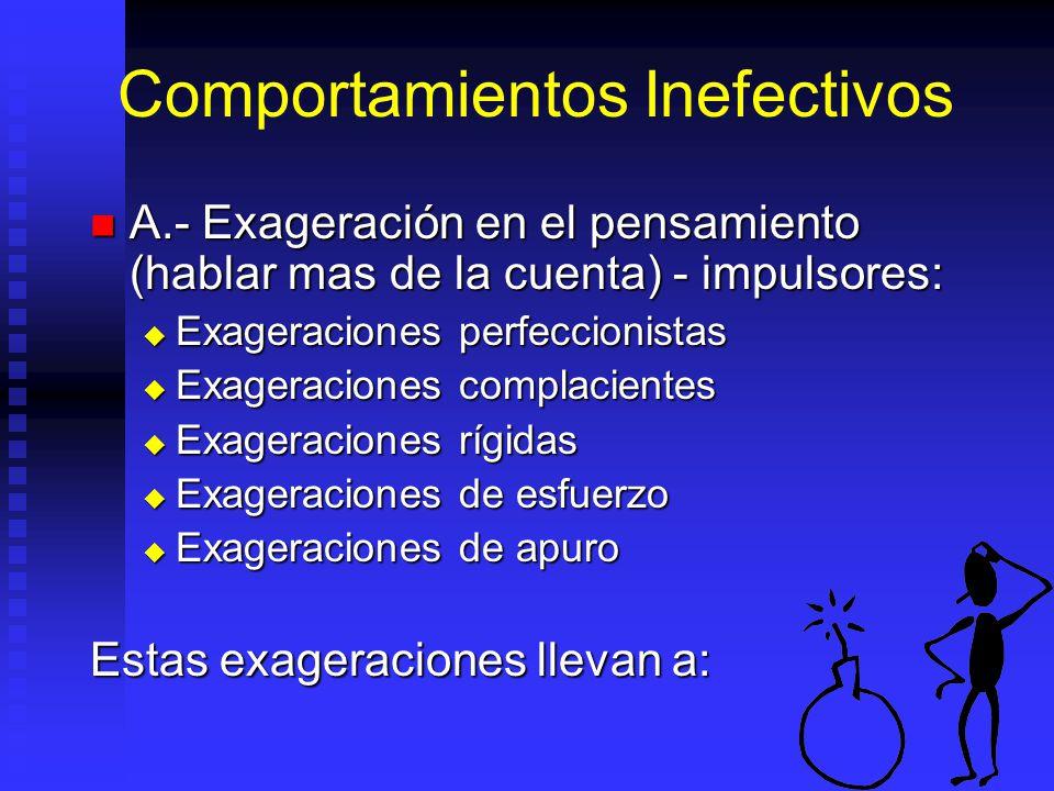 Comportamientos Inefectivos A.- Exageración en el pensamiento (hablar mas de la cuenta) - impulsores: A.- Exageración en el pensamiento (hablar mas de