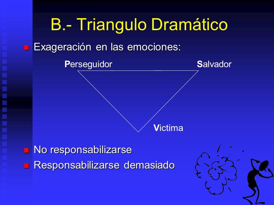 B.- Triangulo Dramático Exageración en las emociones: Exageración en las emociones: No responsabilizarse No responsabilizarse Responsabilizarse demasiado Responsabilizarse demasiado PerseguidorSalvador Victima