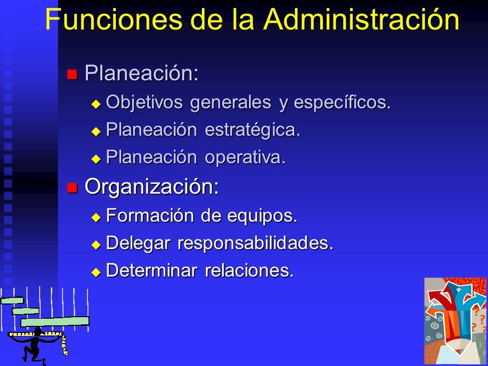 Funciones de la Administración Planeación: Planeación: Objetivos generales y específicos.