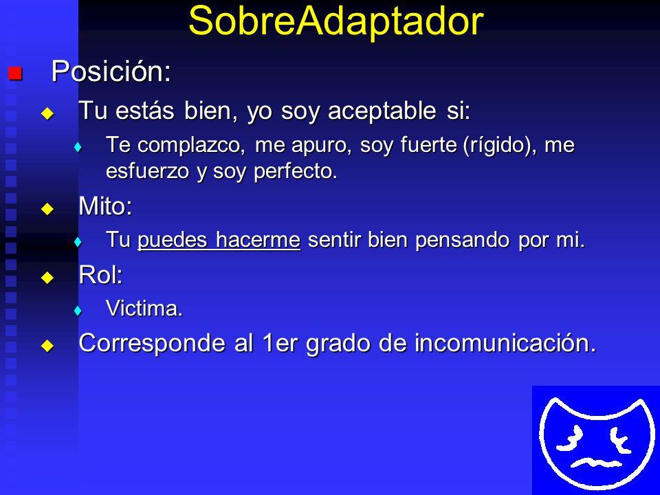 SobreAdaptador Posición: Posición: Tu estás bien, yo soy aceptable si: Tu estás bien, yo soy aceptable si: Te complazco, me apuro, soy fuerte (rígido), me esfuerzo y soy perfecto.