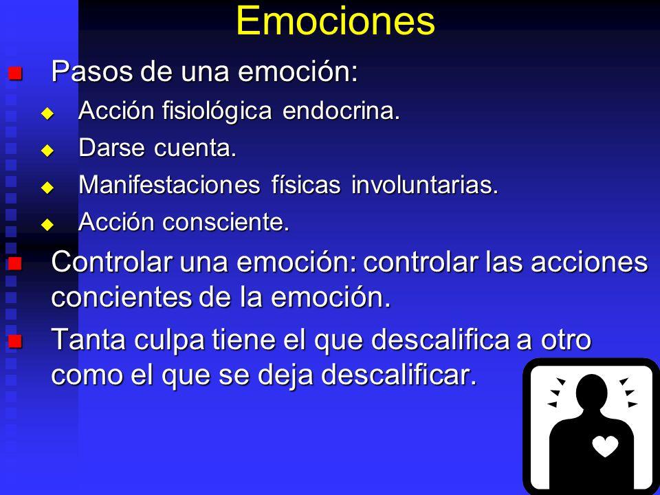 Emociones Pasos de una emoción: Pasos de una emoción: Acción fisiológica endocrina. Acción fisiológica endocrina. Darse cuenta. Darse cuenta. Manifest