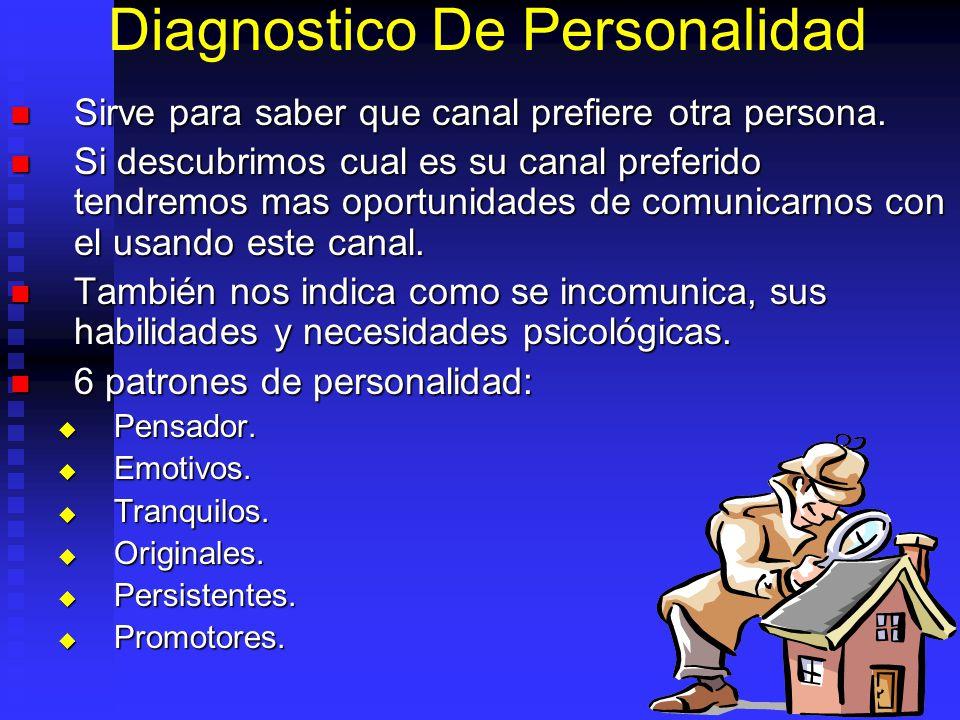 Diagnostico De Personalidad Sirve para saber que canal prefiere otra persona. Sirve para saber que canal prefiere otra persona. Si descubrimos cual es