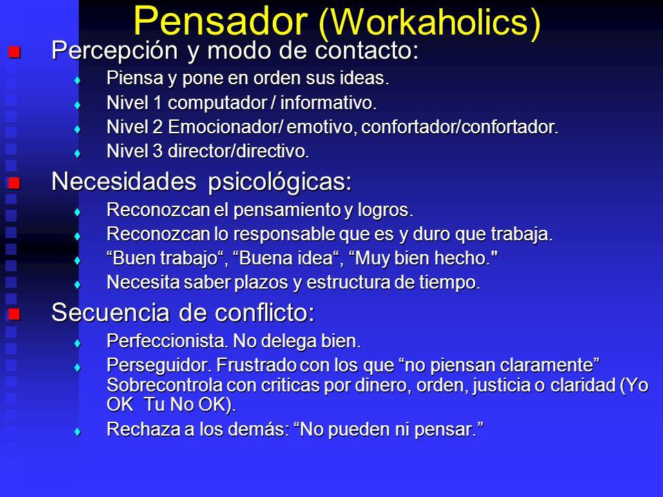 Pensador (Workaholics) Percepción y modo de contacto: Percepción y modo de contacto: Piensa y pone en orden sus ideas. Piensa y pone en orden sus idea