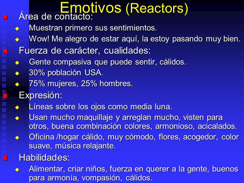 Emotivos (Reactors) Área de contacto: Área de contacto: Muestran primero sus sentimientos. Muestran primero sus sentimientos. Wow! Me alegro de estar
