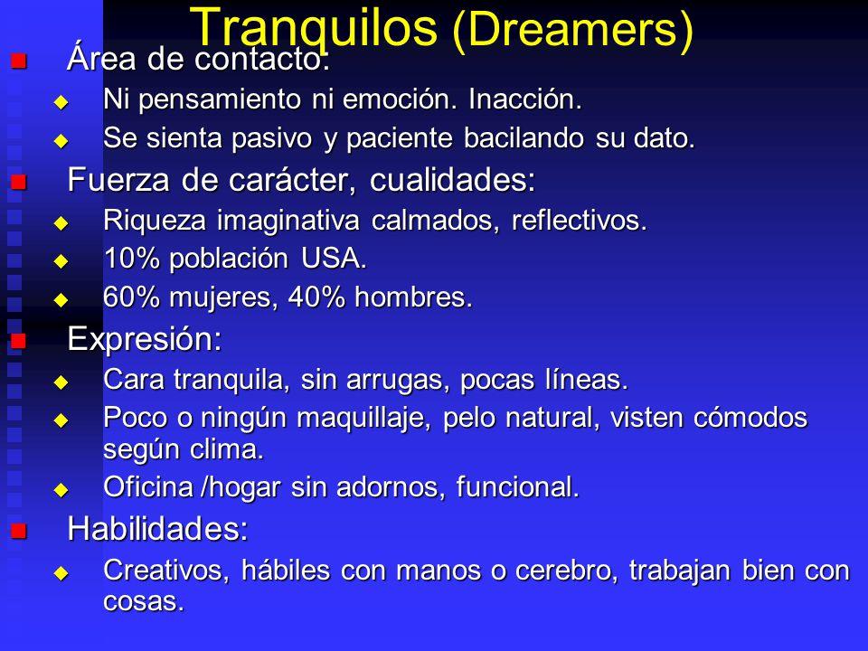 Tranquilos (Dreamers) Área de contacto: Área de contacto: Ni pensamiento ni emoción. Inacción. Ni pensamiento ni emoción. Inacción. Se sienta pasivo y