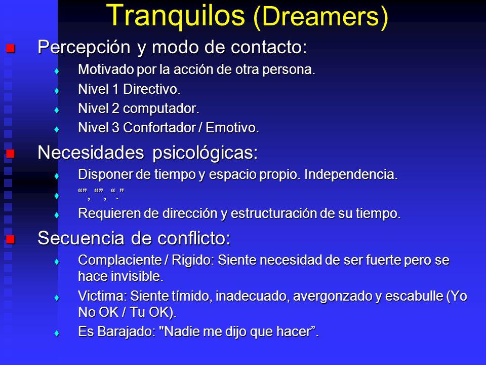 Tranquilos (Dreamers) Percepción y modo de contacto: Percepción y modo de contacto: Motivado por la acción de otra persona.