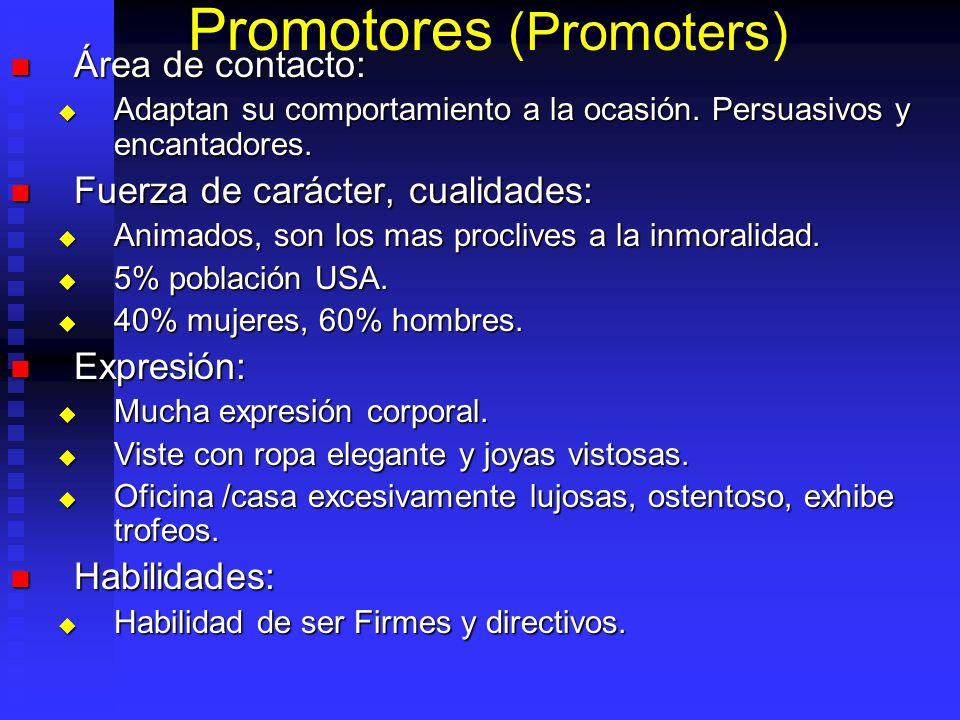 Promotores (Promoters) Área de contacto: Área de contacto: Adaptan su comportamiento a la ocasión. Persuasivos y encantadores. Adaptan su comportamien