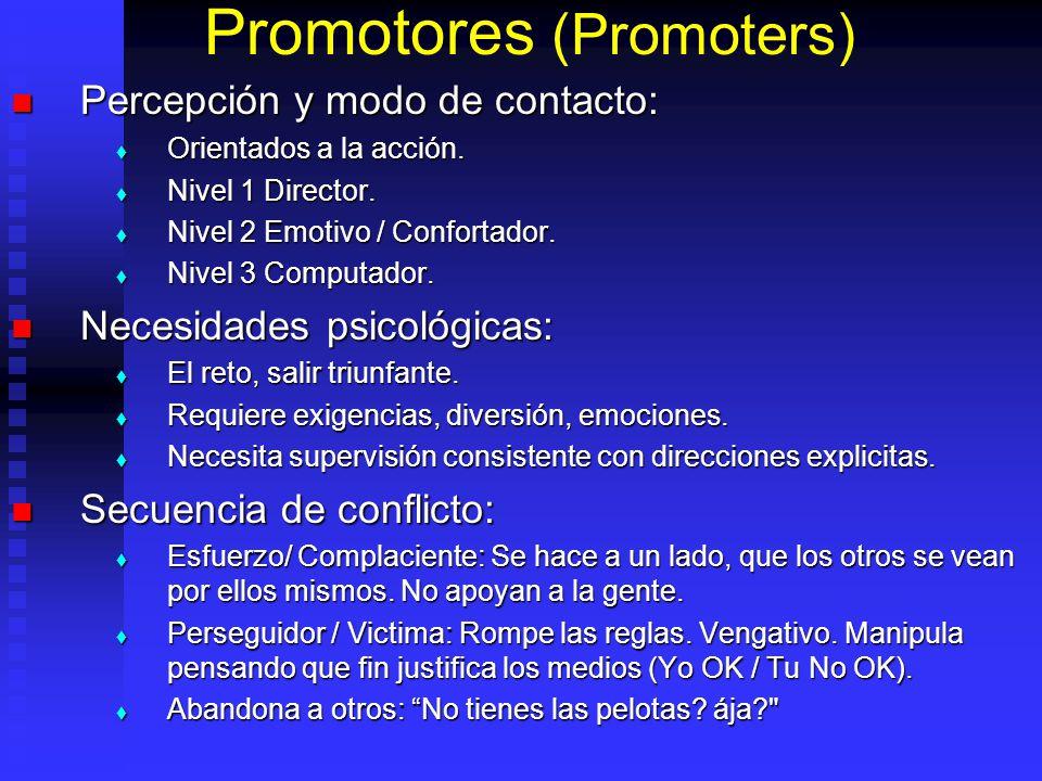 Promotores (Promoters) Percepción y modo de contacto: Percepción y modo de contacto: Orientados a la acción. Orientados a la acción. Nivel 1 Director.
