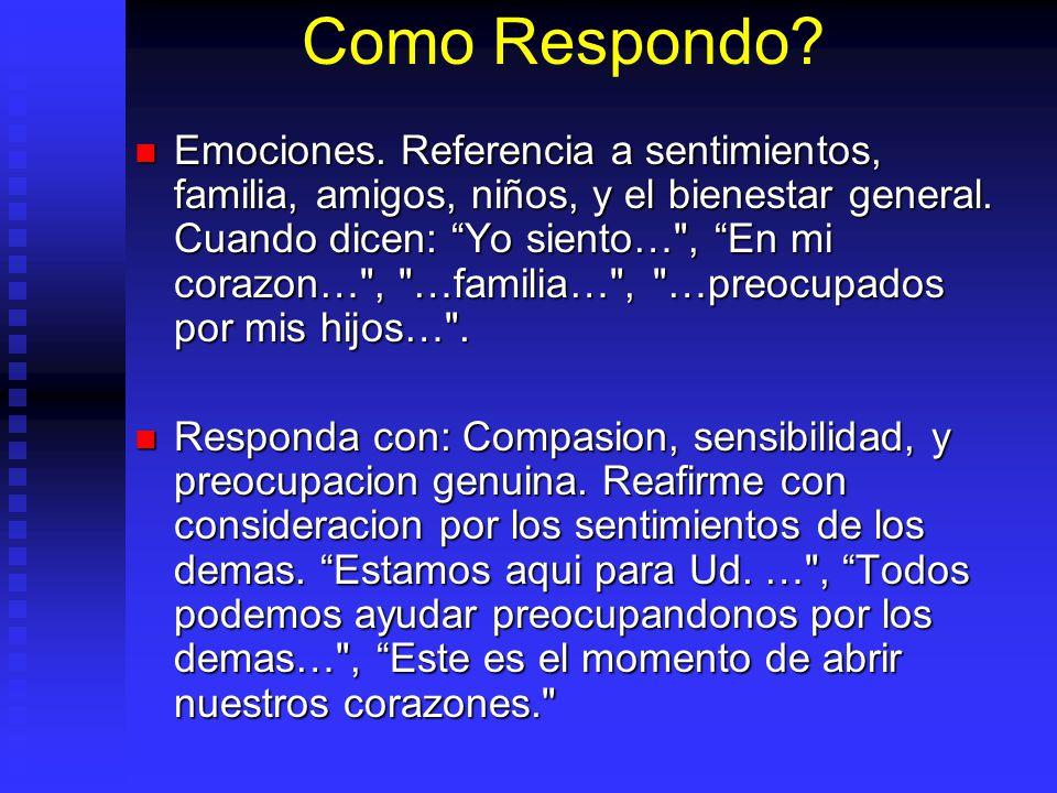 Como Respondo? Emociones. Referencia a sentimientos, familia, amigos, niños, y el bienestar general. Cuando dicen: Yo siento…