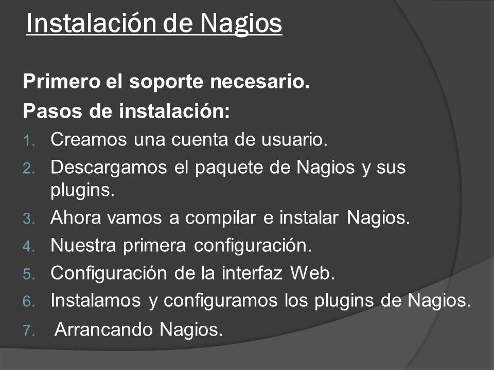 Instalación de Nagios Primero el soporte necesario. Pasos de instalación: 1. Creamos una cuenta de usuario. 2. Descargamos el paquete de Nagios y sus