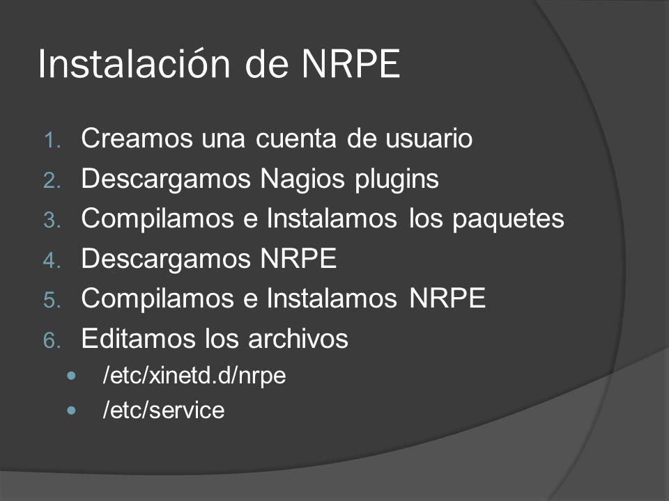 Instalación de NRPE 1. Creamos una cuenta de usuario 2. Descargamos Nagios plugins 3. Compilamos e Instalamos los paquetes 4. Descargamos NRPE 5. Comp