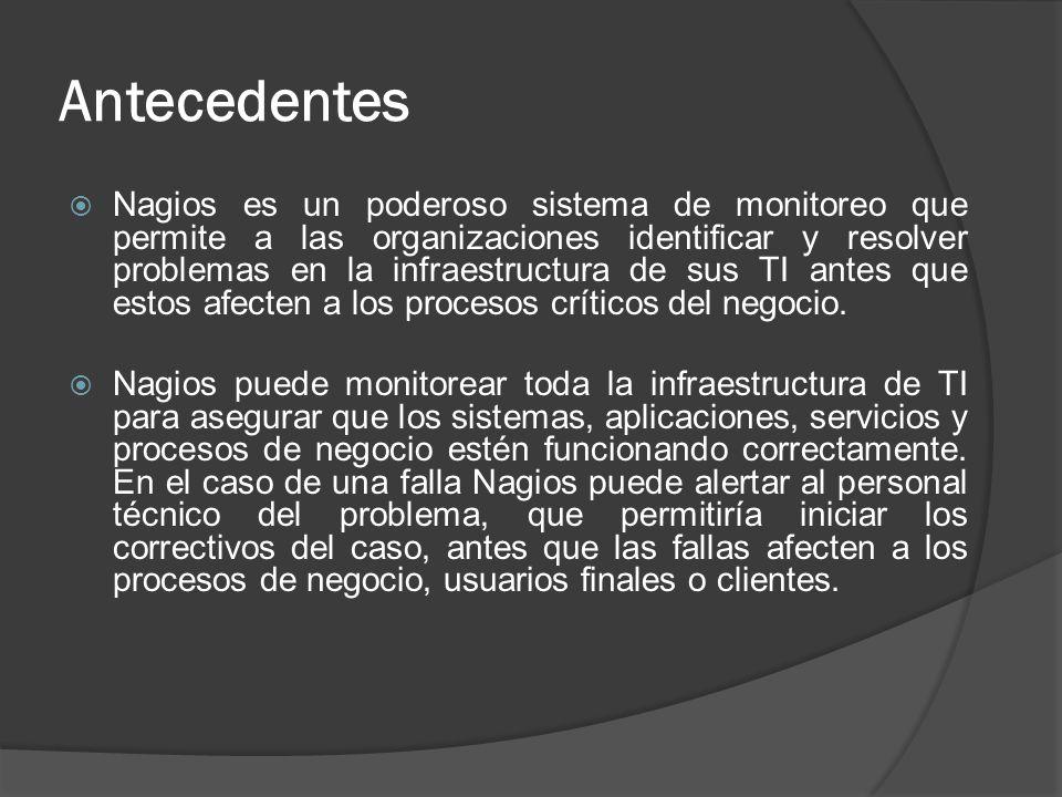 Antecedentes Nagios es un poderoso sistema de monitoreo que permite a las organizaciones identificar y resolver problemas en la infraestructura de sus