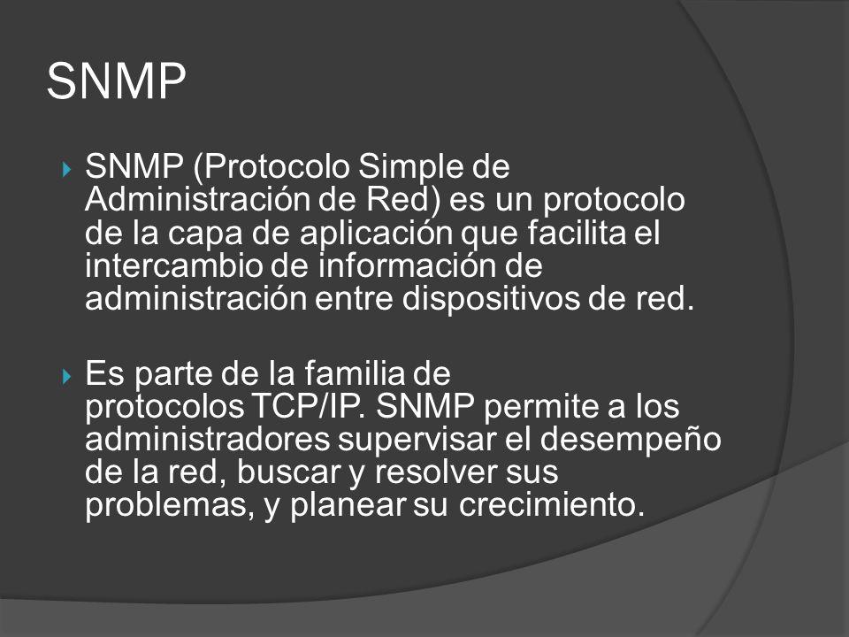 SNMP SNMP (Protocolo Simple de Administración de Red) es un protocolo de la capa de aplicación que facilita el intercambio de información de administr