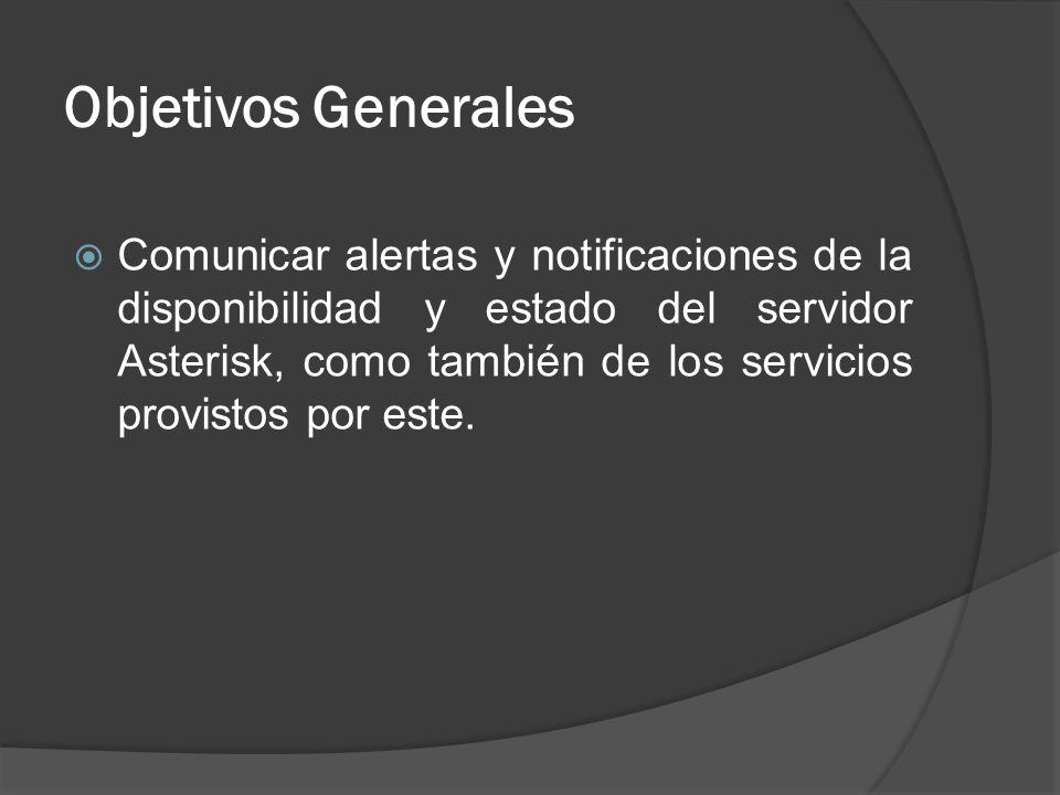 Objetivos Generales Comunicar alertas y notificaciones de la disponibilidad y estado del servidor Asterisk, como también de los servicios provistos po