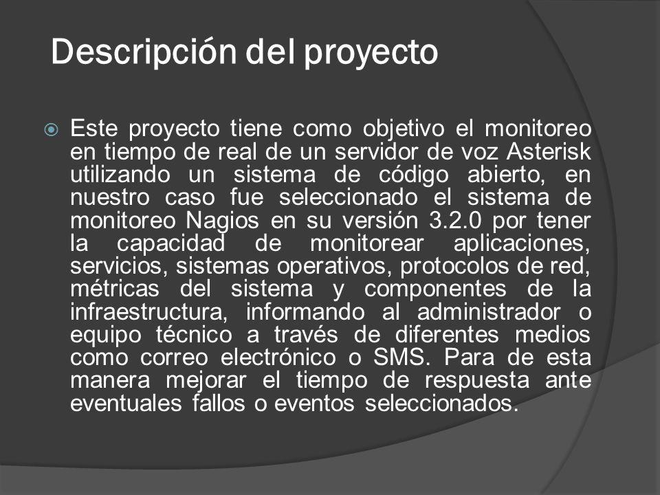 Descripción del proyecto Este proyecto tiene como objetivo el monitoreo en tiempo de real de un servidor de voz Asterisk utilizando un sistema de códi