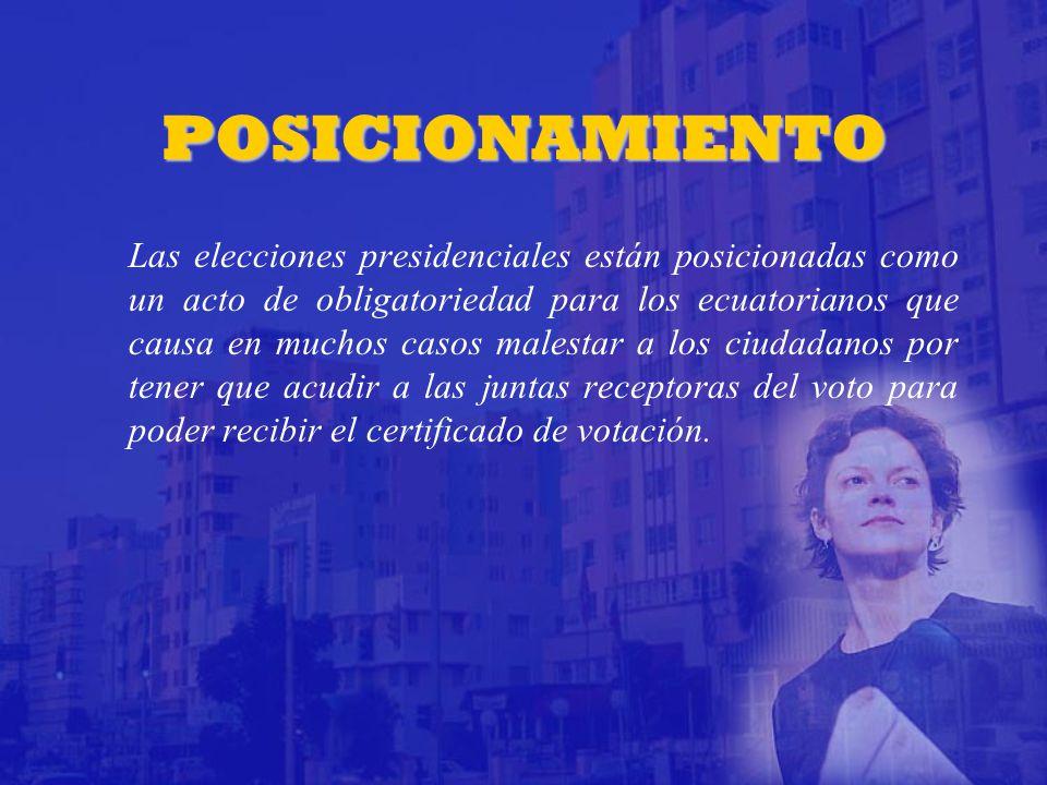 POSICIONAMIENTO Las elecciones presidenciales están posicionadas como un acto de obligatoriedad para los ecuatorianos que causa en muchos casos malestar a los ciudadanos por tener que acudir a las juntas receptoras del voto para poder recibir el certificado de votación.