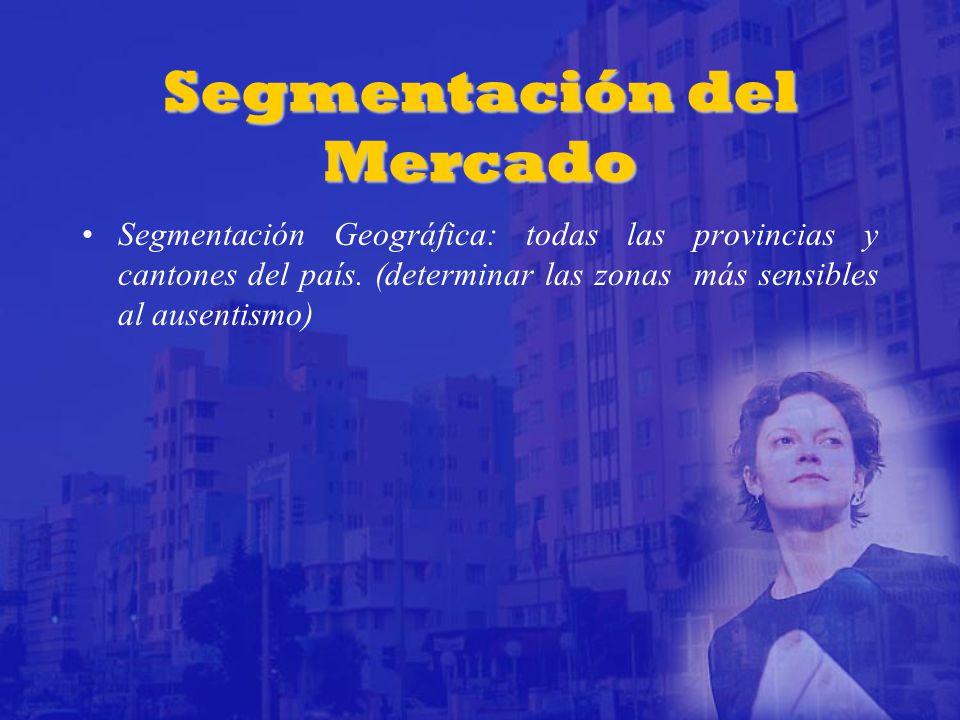 Segmentación del Mercado Segmentación Geográfica: todas las provincias y cantones del país.