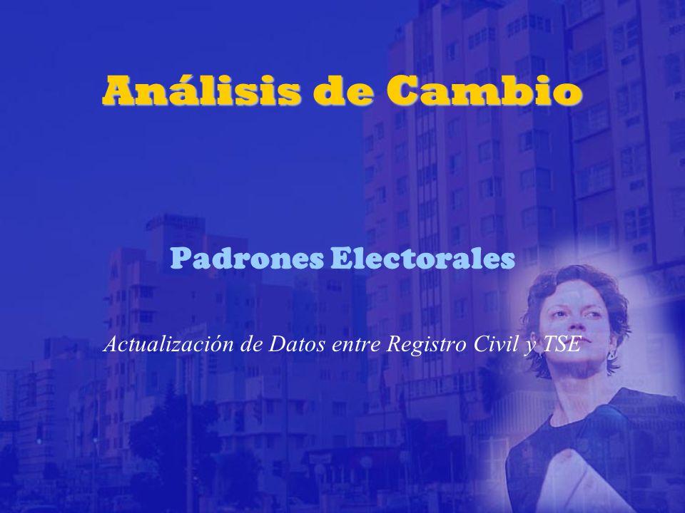 Análisis de Cambio Padrones Electorales Actualización de Datos entre Registro Civil y TSE