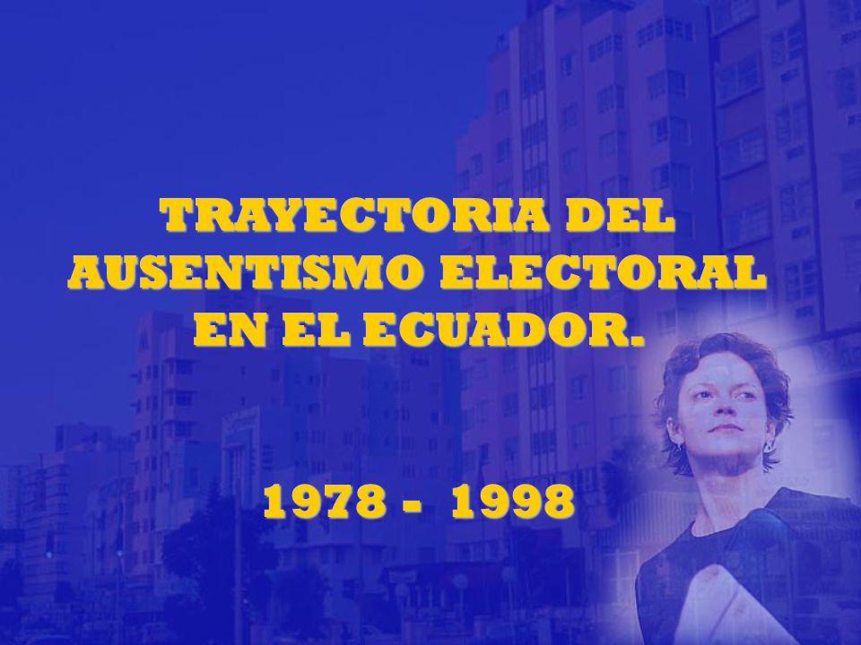 TRAYECTORIA DEL AUSENTISMO ELECTORAL EN EL ECUADOR. 1978 - 1998