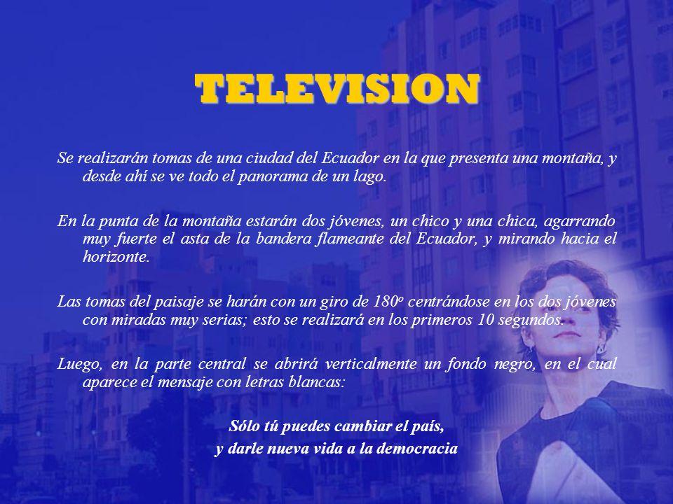 TELEVISION Se realizarán tomas de una ciudad del Ecuador en la que presenta una montaña, y desde ahí se ve todo el panorama de un lago.