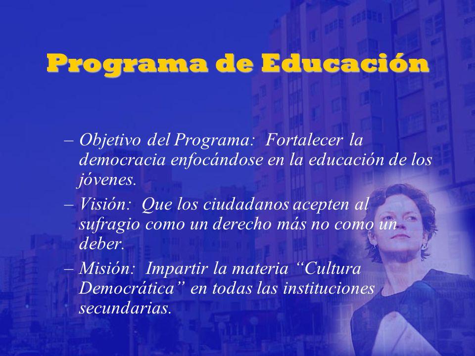 Programa de Educación –Objetivo del Programa: Fortalecer la democracia enfocándose en la educación de los jóvenes.