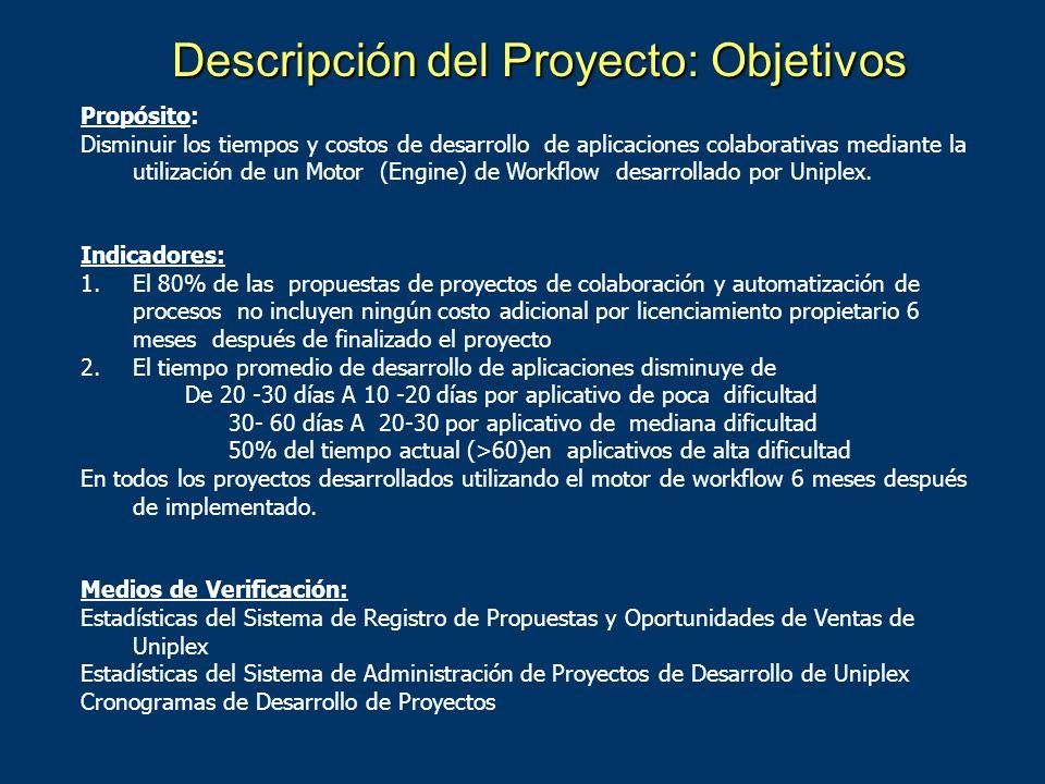 Descripción del Proyecto: Objetivos Fin: Contribuir a incrementar el margen de utilidad de los negocios de desarrollo de aplicaciones colaborativas de Uniplex S.A.
