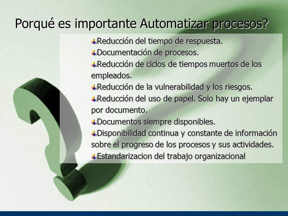 Porqué es importante Automatizar procesos.Reducción del tiempo de respuesta.
