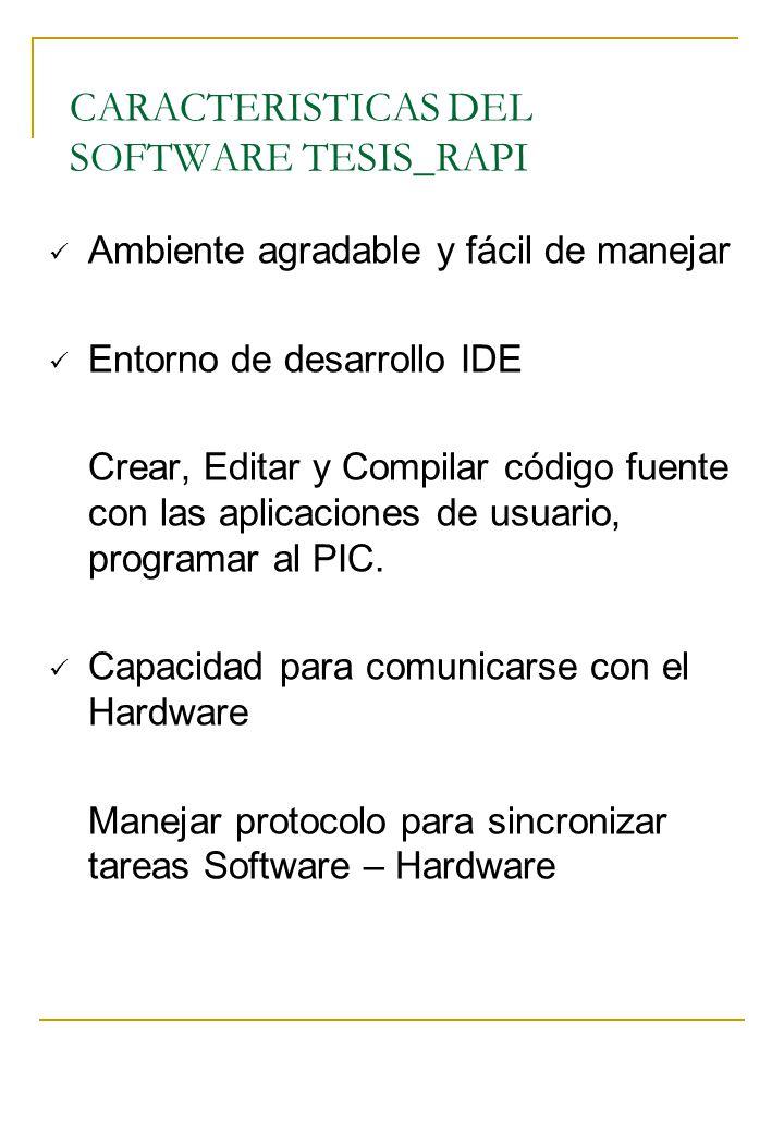 CARACTERISTICAS DEL SOFTWARE TESIS_RAPI Ambiente agradable y fácil de manejar Entorno de desarrollo IDE Crear, Editar y Compilar código fuente con las