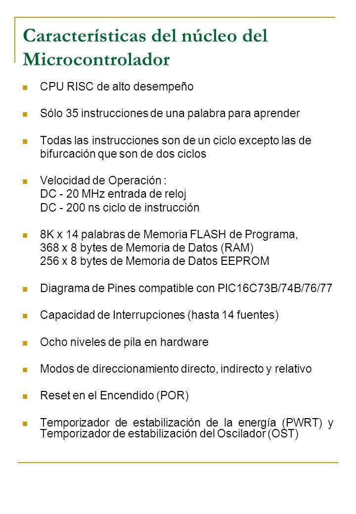 Características del núcleo del Microcontrolador CPU RISC de alto desempeño Sólo 35 instrucciones de una palabra para aprender Todas las instrucciones