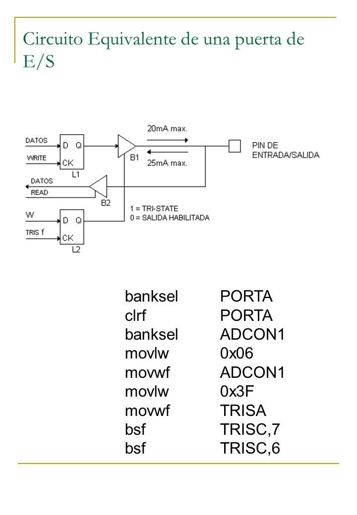 Circuito Equivalente de una puerta de E/S bankselPORTA clrfPORTA bankselADCON1 movlw0x06 movwfADCON1 movlw0x3F movwfTRISA bsfTRISC,7 bsfTRISC,6