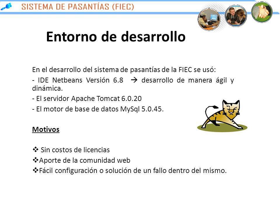 Entorno de desarrollo En el desarrollo del sistema de pasantías de la FIEC se usó: - IDE Netbeans Versión 6.8 desarrollo de manera ágil y dinámica. -