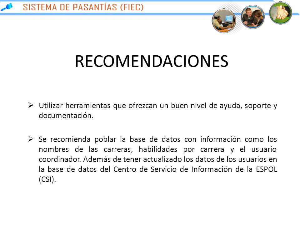 RECOMENDACIONES Utilizar herramientas que ofrezcan un buen nivel de ayuda, soporte y documentación. Se recomienda poblar la base de datos con informac