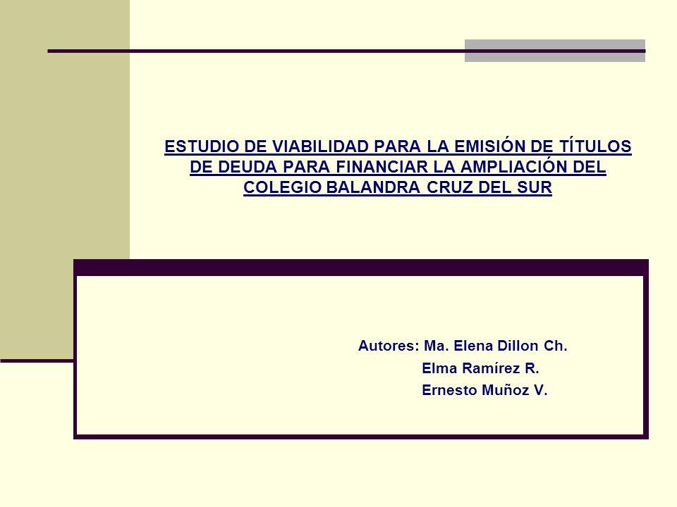 ESTUDIO DE VIABILIDAD PARA LA EMISIÓN DE TÍTULOS DE DEUDA PARA FINANCIAR LA AMPLIACIÓN DEL COLEGIO BALANDRA CRUZ DEL SUR Autores: Ma. Elena Dillon Ch.