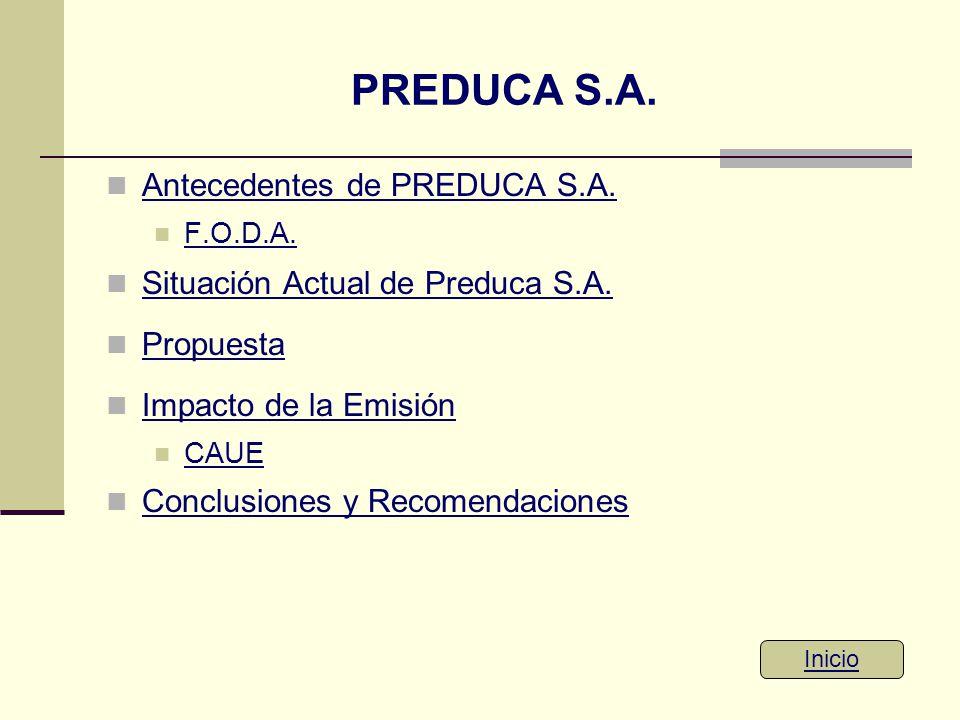 PREDUCA S.A. Antecedentes de PREDUCA S.A. F.O.D.A. Situación Actual de Preduca S.A. Propuesta Impacto de la Emisión CAUE Conclusiones y Recomendacione