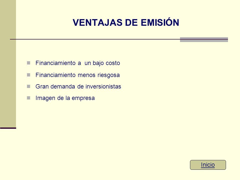 VENTAJAS DE EMISIÓN Financiamiento a un bajo costo Financiamiento menos riesgosa Gran demanda de inversionistas Imagen de la empresa Inicio