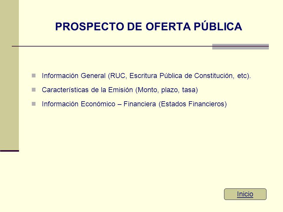 PROSPECTO DE OFERTA PÚBLICA Información General (RUC, Escritura Pública de Constitución, etc). Características de la Emisión (Monto, plazo, tasa) Info