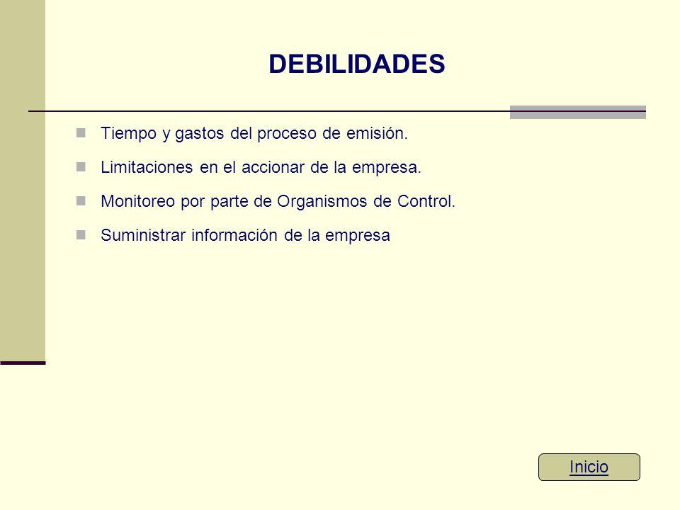 DEBILIDADES Tiempo y gastos del proceso de emisión. Limitaciones en el accionar de la empresa. Monitoreo por parte de Organismos de Control. Suministr