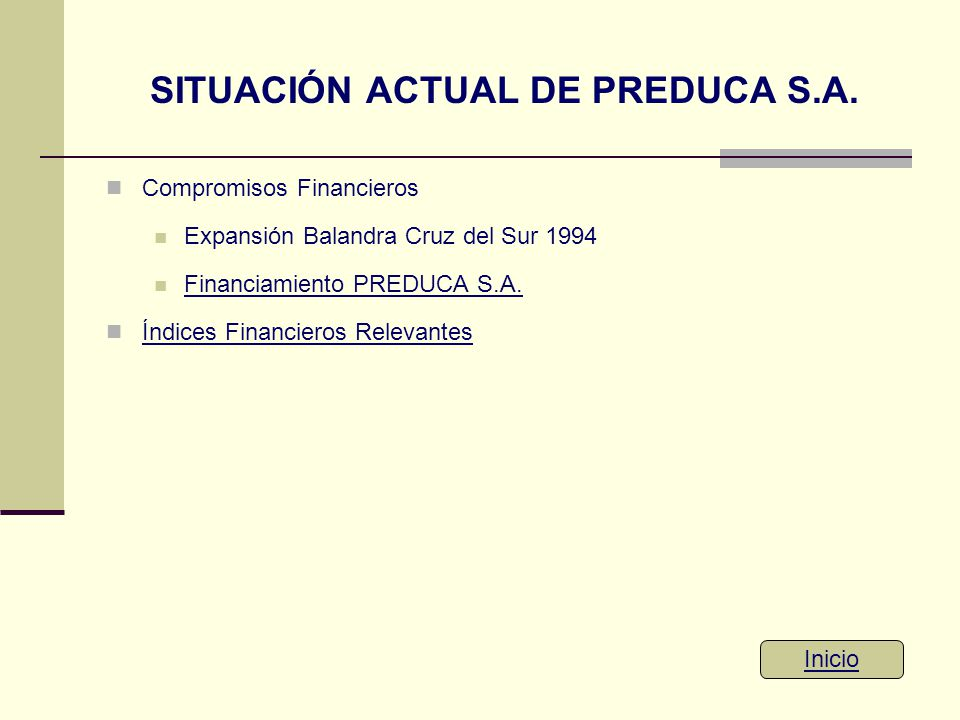 SITUACIÓN ACTUAL DE PREDUCA S.A. Compromisos Financieros Expansión Balandra Cruz del Sur 1994 Financiamiento PREDUCA S.A. Índices Financieros Relevant